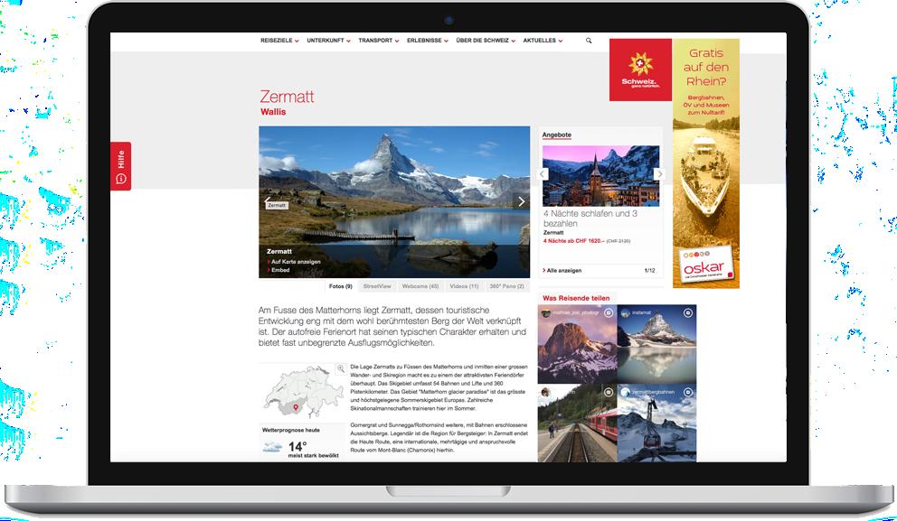 Instagram Feed auf der Website von Schweiz Tourismus. Eingebunden mit contentfry.com